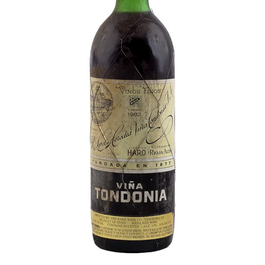 Lopez de Heredia Tondonia Rioja (torn label, signs of past seepage)