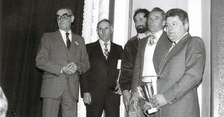 A Murderer's Row of Great Côte Rôtie Growers circa 1960-70s. From left Albert Dervieux, Marius Gentaz, unknown grower, Emile Champet and Robert Jasmin.