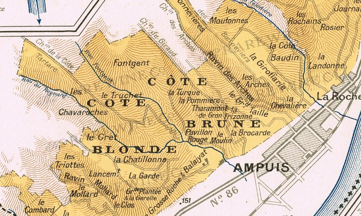 This 1940s map by Larmat highlights some of the more renowned single vineyards like La Chatillone, Pommière, La Mouline, La Turque, La Garde and La Chevalière